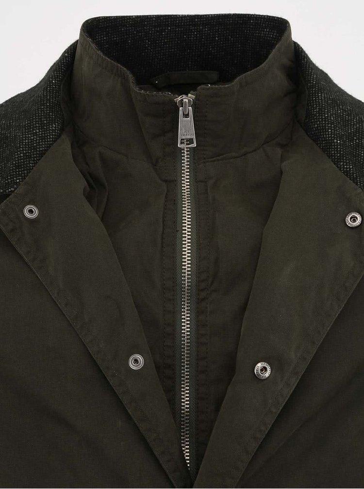 Jachetă Ben Sherman verde închis cu guler gri