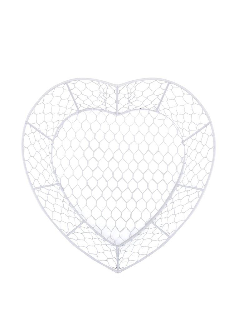 Bílý drátěný košík ve tvaru srdce Dakls