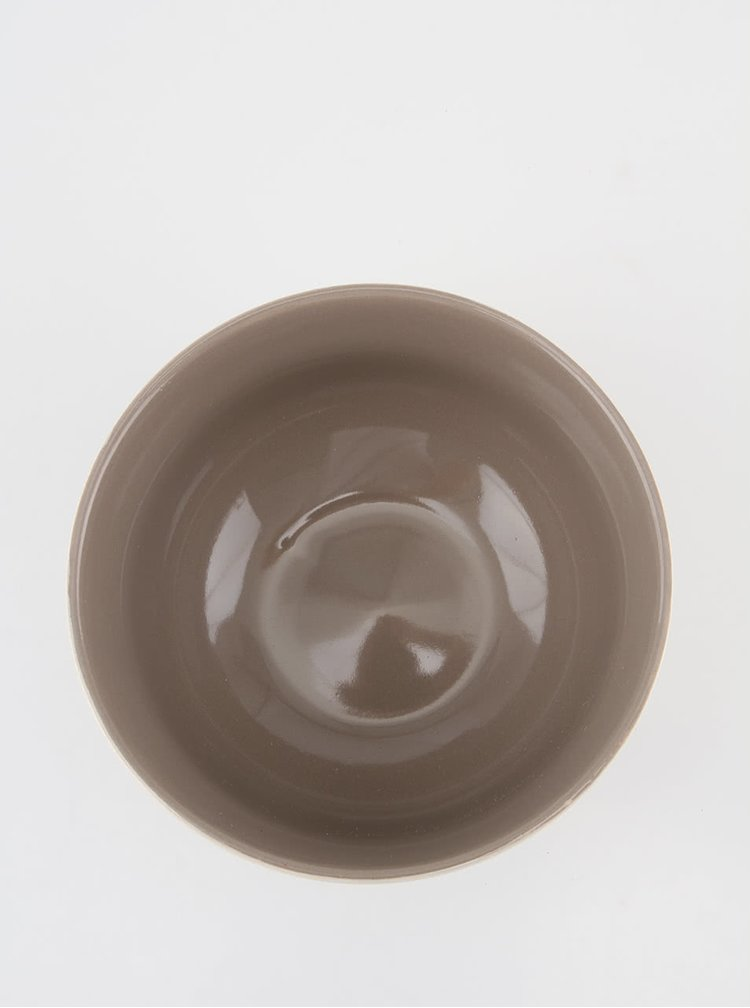Sivo-biela keramická miska s ručne zdobeným srdcem Dakls