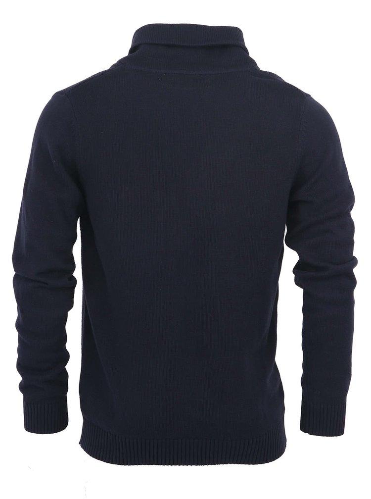 Cardigan tricotat bleumarin Selected Homme din bumbac cu guler cu revere
