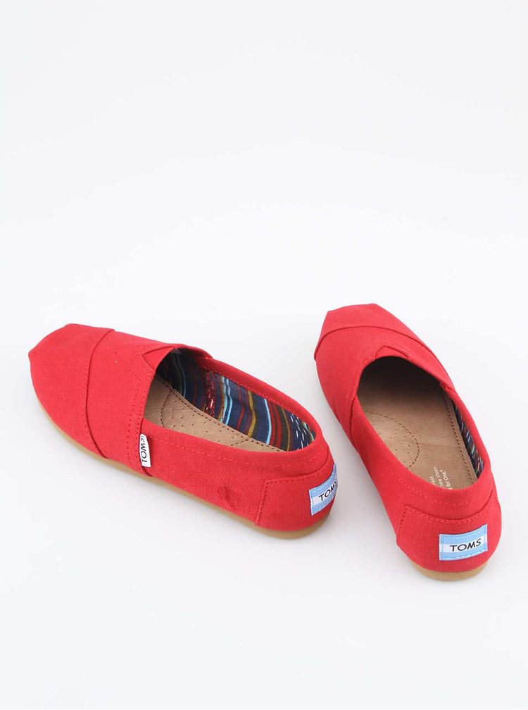 Červené pánske loafers TOMS Canvas Classic