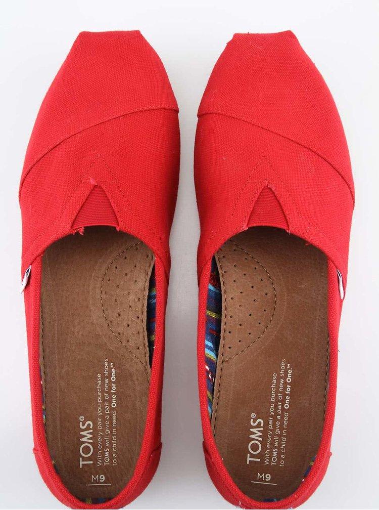 Červené dámské loafers TOMS Canvas Classic