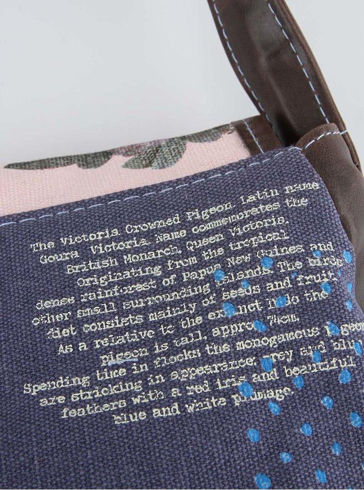 Růžovo-modrá kabelka s pávem přes rameno Disaster Aviary