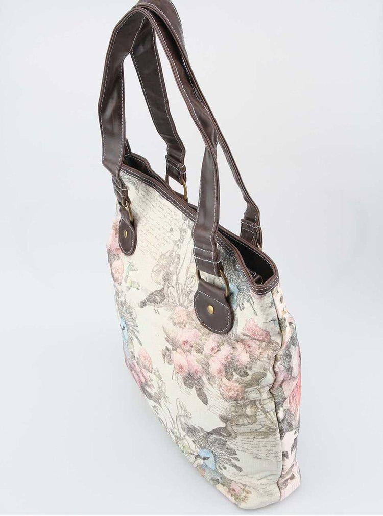 Krémová kabelka s plameniakom Disaster Aviary