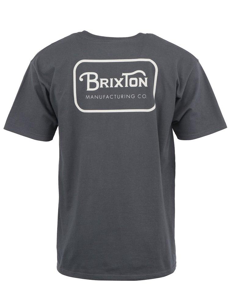 Tmavosivé pánske tričko s potlačou Brixton Grade