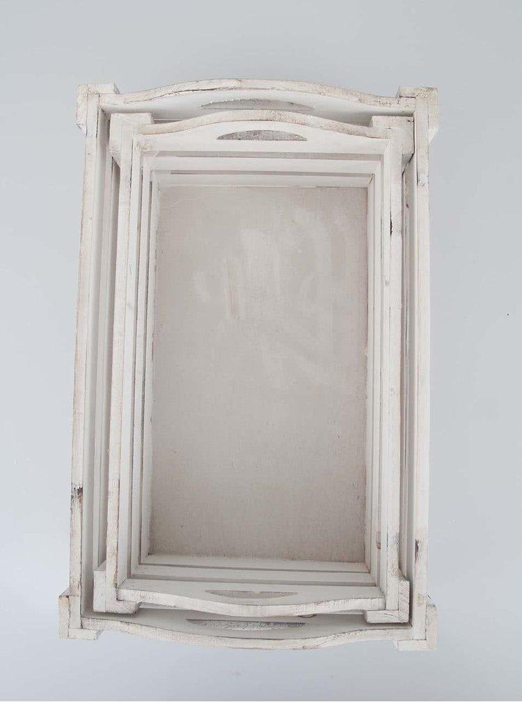 Set dvoch bielych drevených prepraviek Dakls