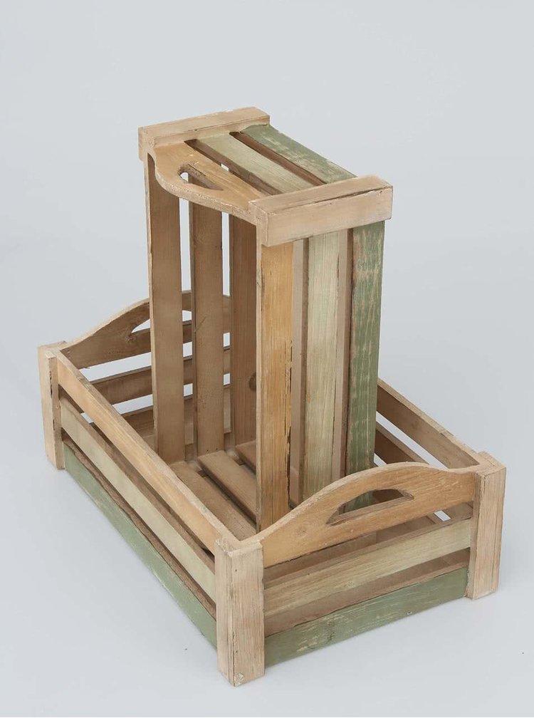 Sada dvou hnědých dřevěných přepravek Dakls