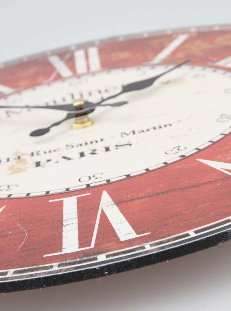 Červené dřevěné hodiny Dakls