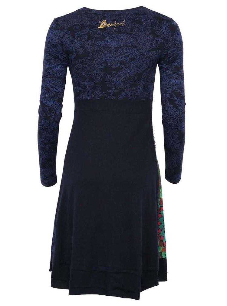 Rochie albastră cu imprimeu și mânecă lungă Marsella de la Desigual