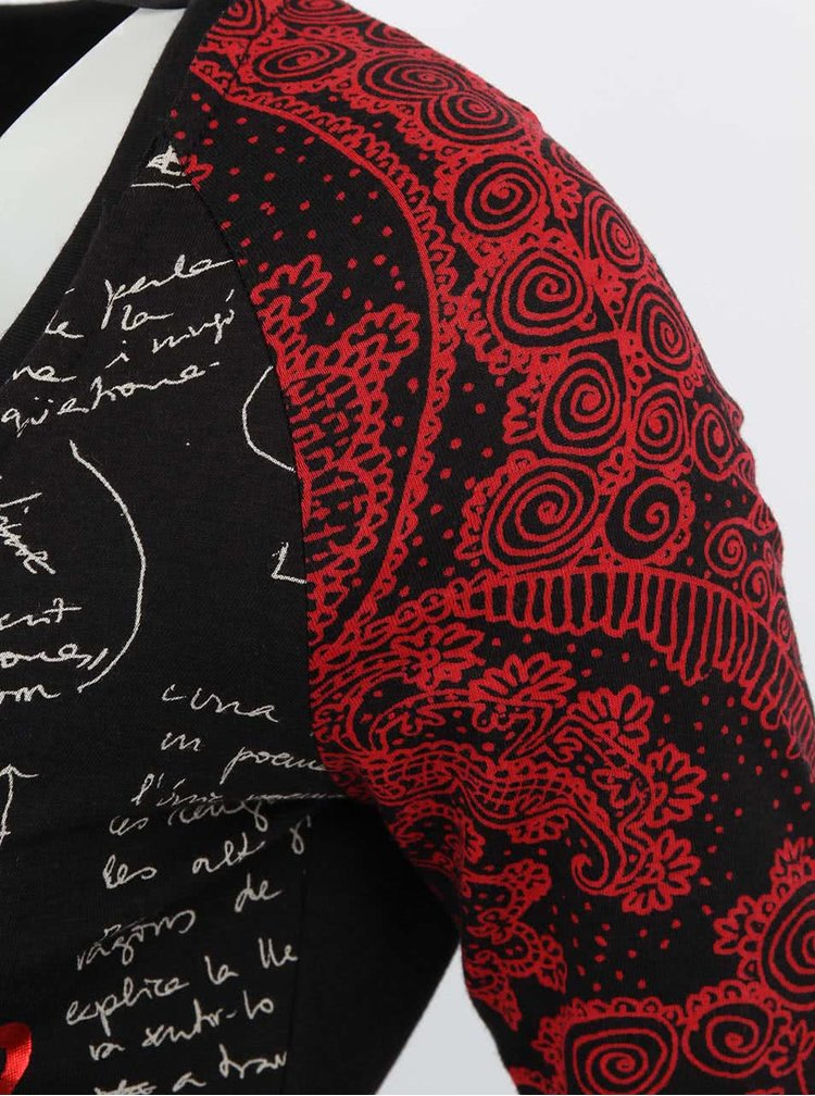 Červeno-černé tričko Desigual Noa