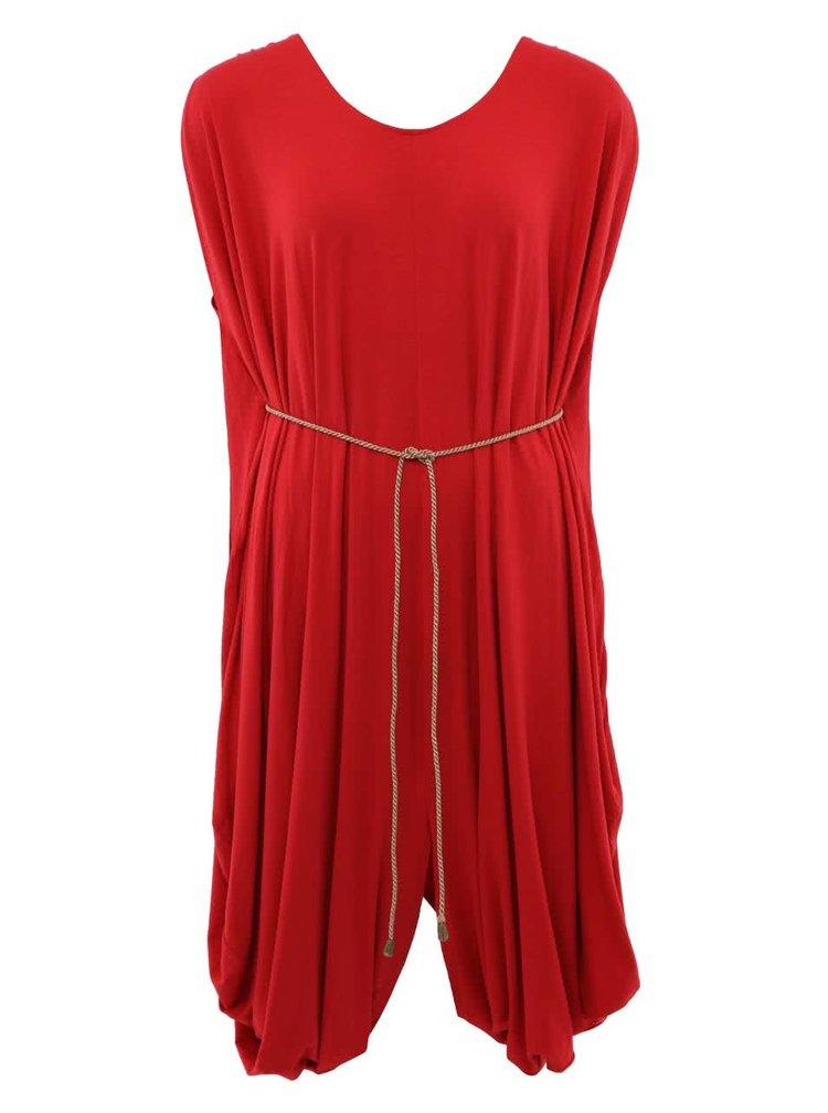 """""""Dobré"""" červené šaty so žltou šnúrkou City Souls Odivi"""
