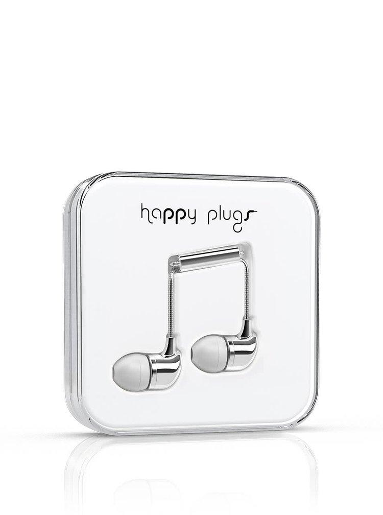Casti In-Ear Happy Plugs albe, cu detalii argintii