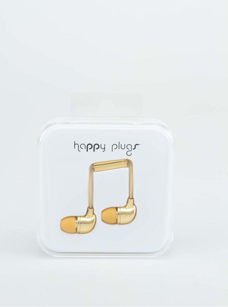 In-ear sluchátka ve zlaté barvě Happy Plugs