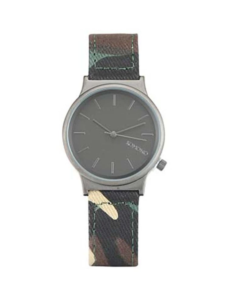 Šedé unisex hodinky s hnědým vzorovaným textilním páskem Komono Wizard