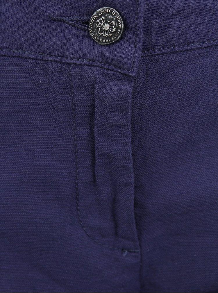Pantaloni chino Maison Scotch cu banda pentru femei - albastru