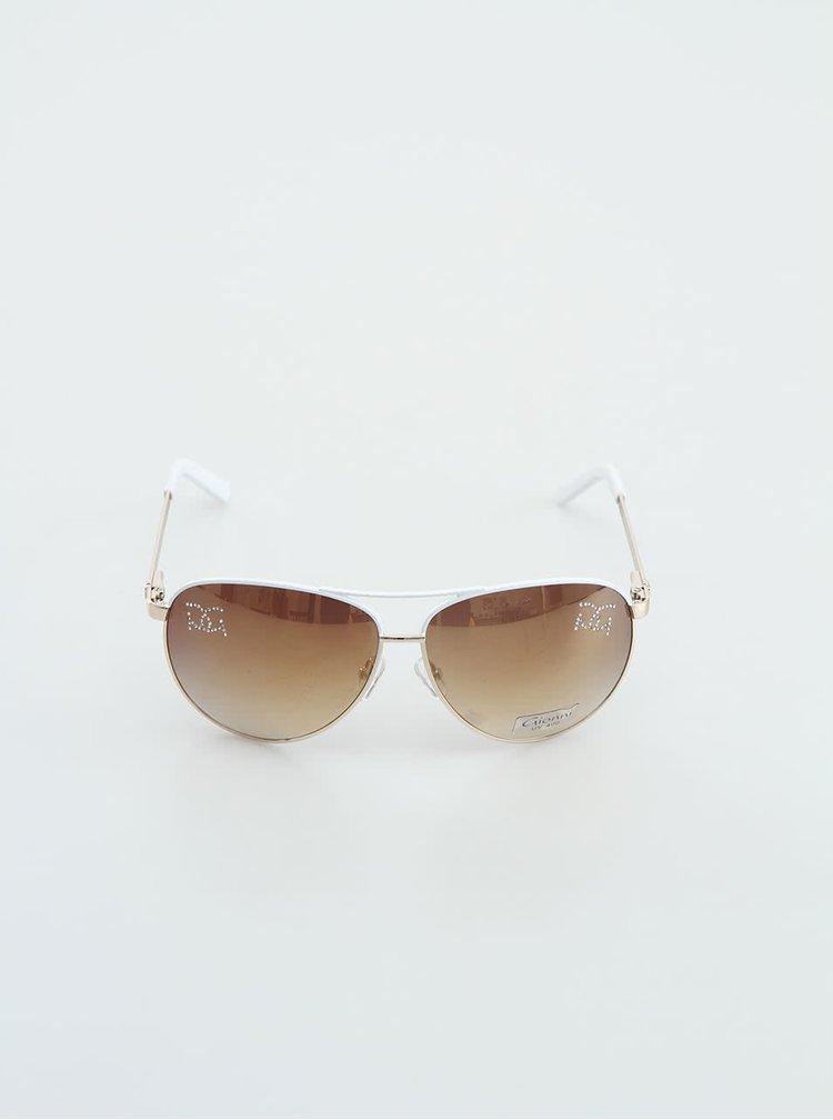 Ochelari de soare albi Gionni cu strasuri