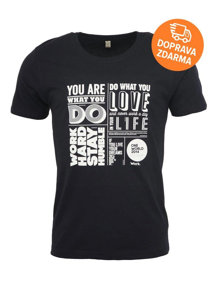 "Pánske modré ""dobré"" tričko Jeden svet Pozitívny"
