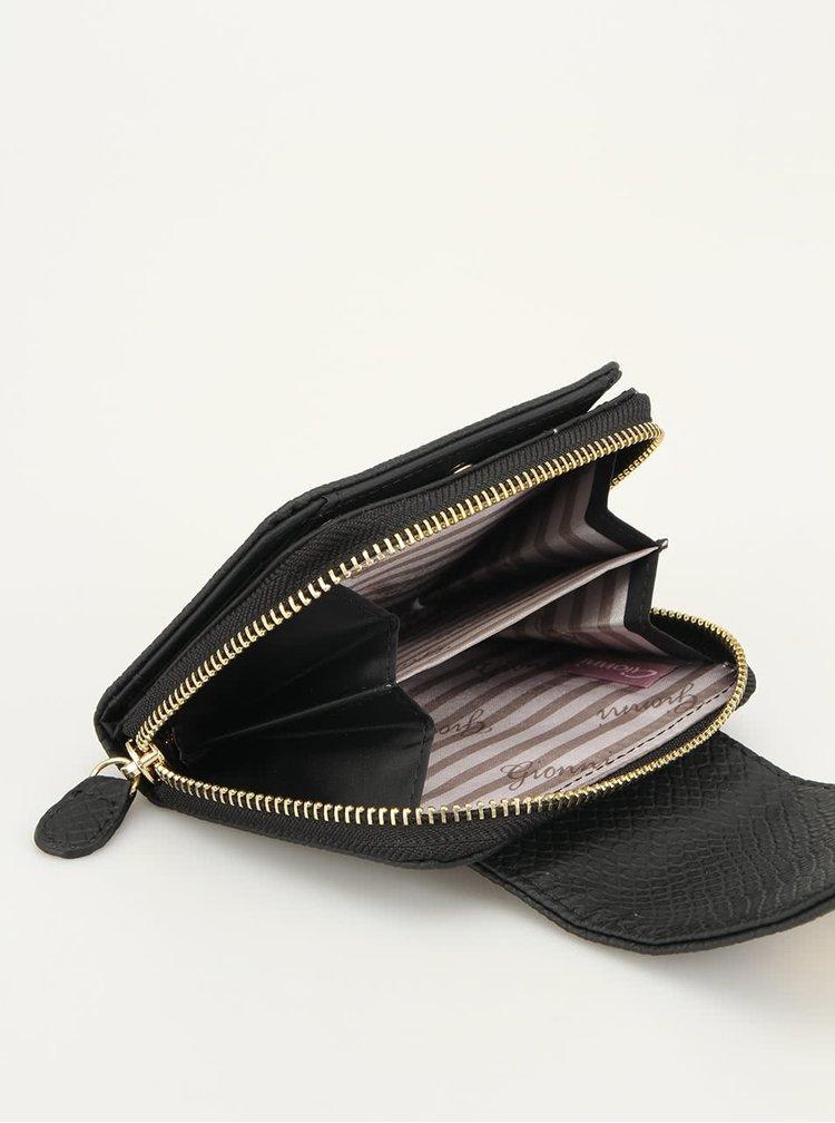 Malá černá peněženka Gionni v imitaci hadí kůže