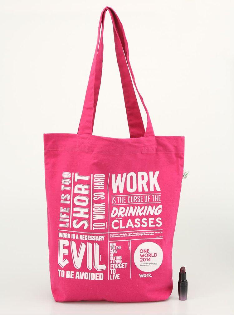 """Růžová """"dobrá"""" taška Jeden Svět"""