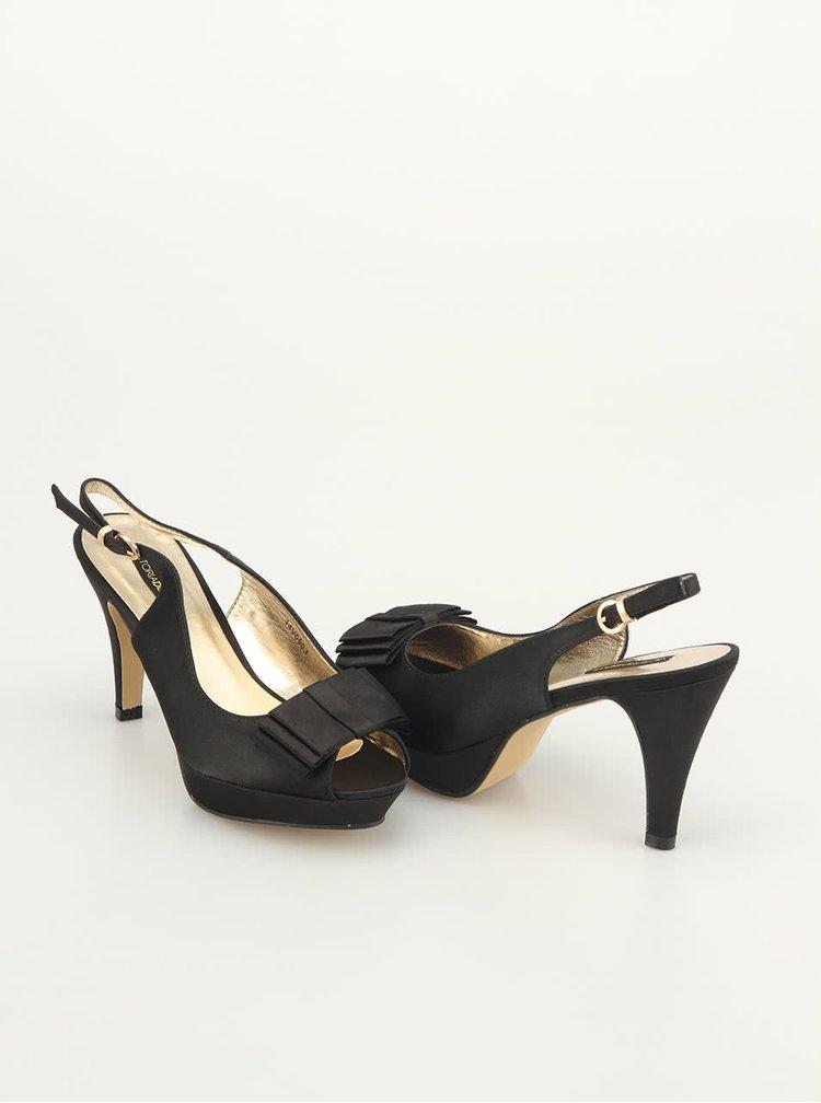 Pantofi negri decupați, cu fundă, de la Victoria Delef