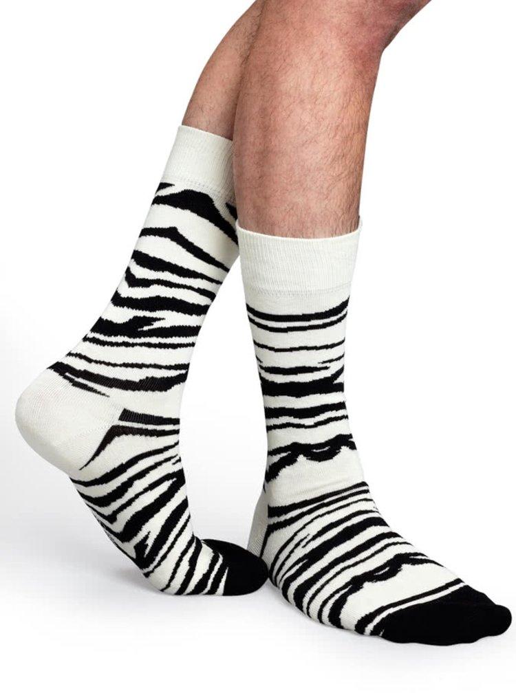 Čierno-biele unisex ponožky Happy Socks Zebra