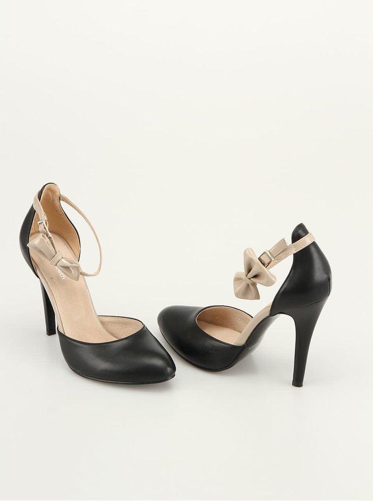 Černé sandálky na vysokém podpatku s mašlí Elisabeth