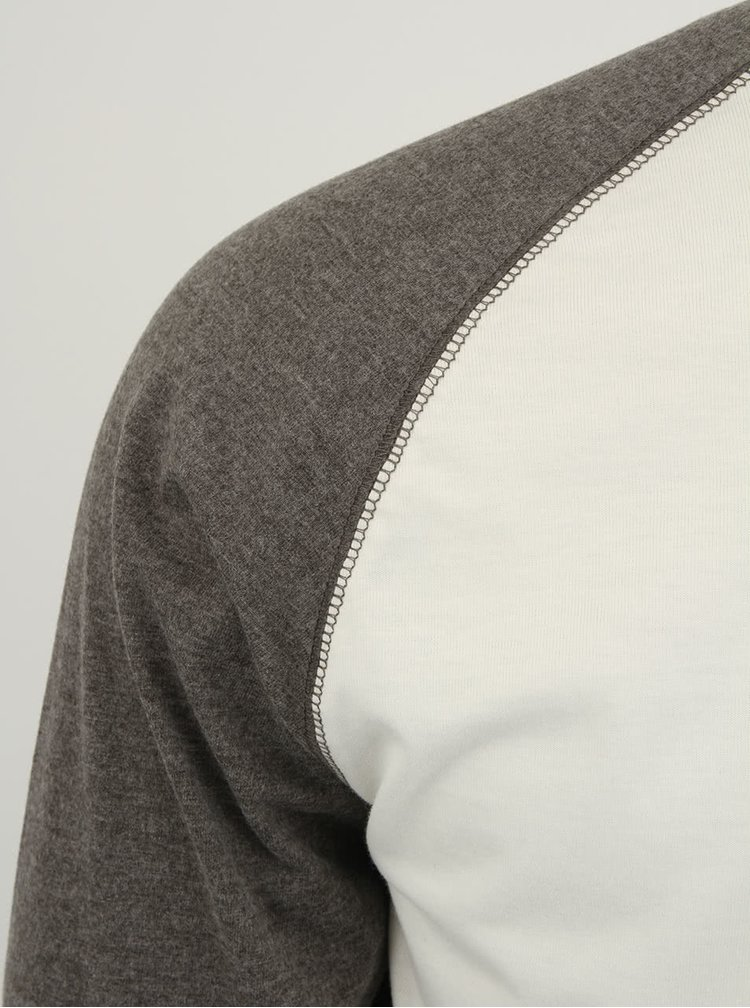 Bílo-šedé triko s dlouhým rukávem Selected