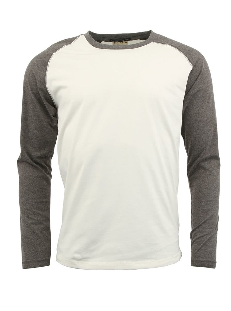 Bielo-sivé tričko s dlhým rukávom Selected