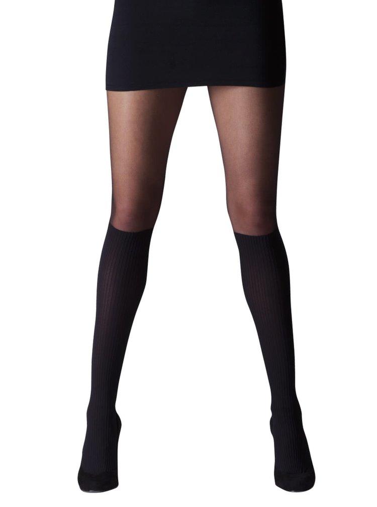 Černé punčochové kalhoty se zvýrazněnými podkolenkami Gipsy