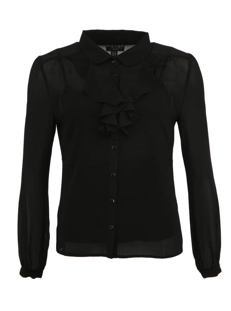 Čierna košeľa Fever London Oklahoma s volánom