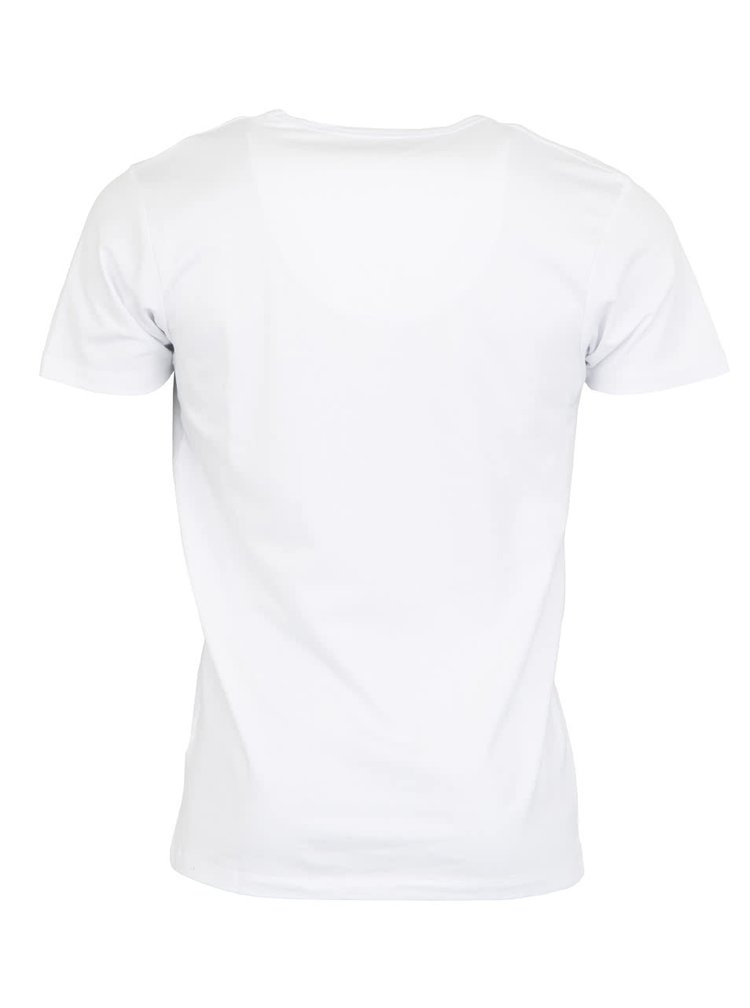 Bílé tričko s véčkovým výstřihem Jack & Jones Basic