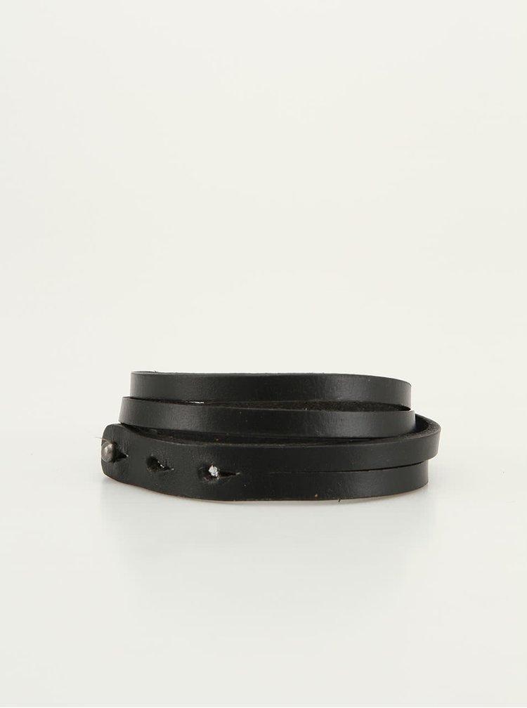 Černý pánský kožený náramek Lucleon Bari