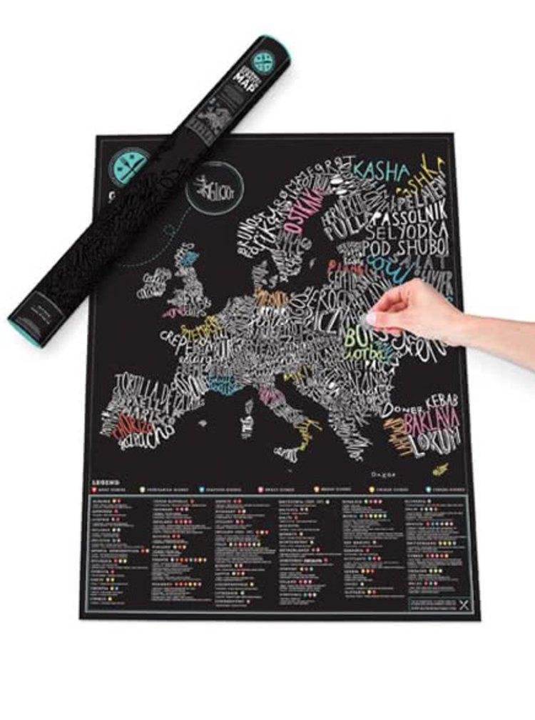Velká stírací mapa Evropy Gourmet Luckies
