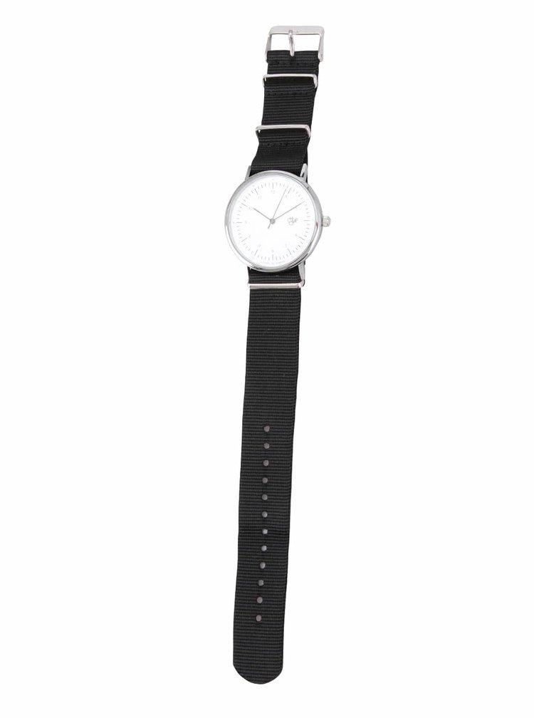 Unisex hodinky ve stříbrné barvě s černým textilním páskem Cheapo Harold