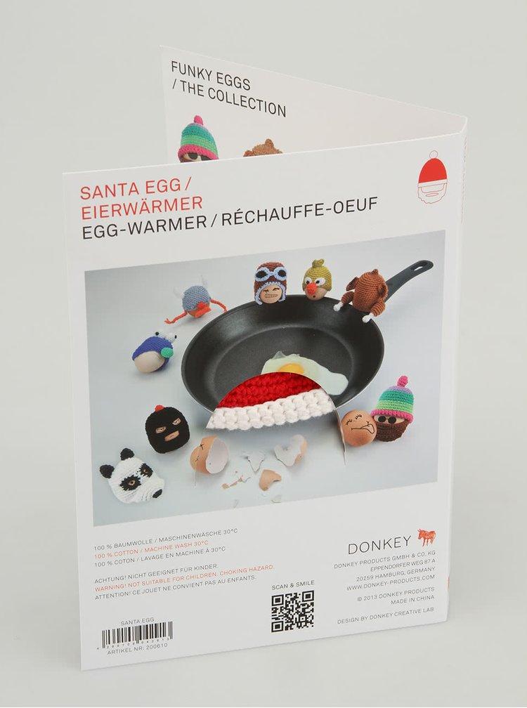 Căciuliță croșetată pentru ou de la Donkey, model Moș Crăciun