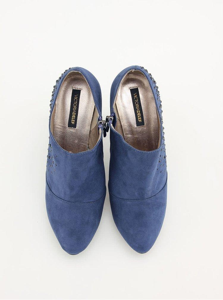 Modré sexy boty Victoria Delef s kamínky