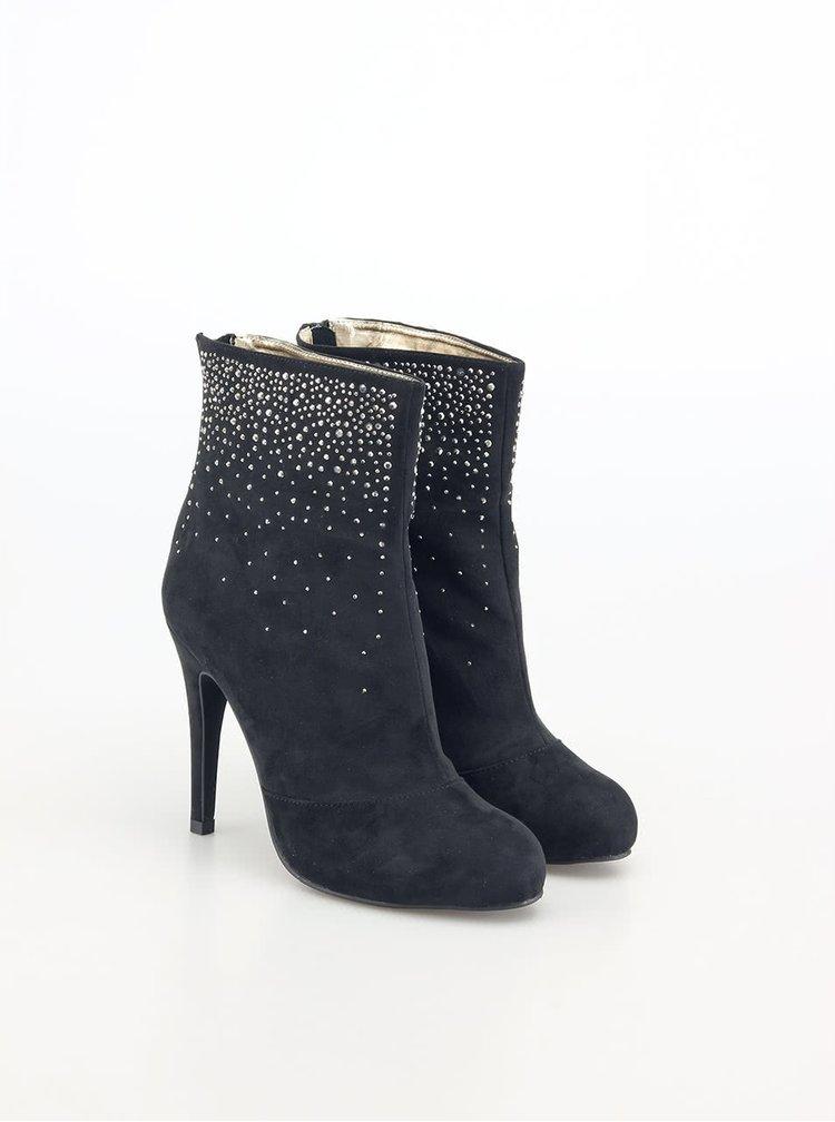 Čierne členkové topánky s kamienkami Victoria Delef