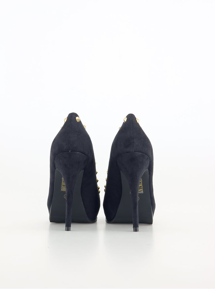 Čierne lodičky ozdobené cvočkami Victoria Delef
