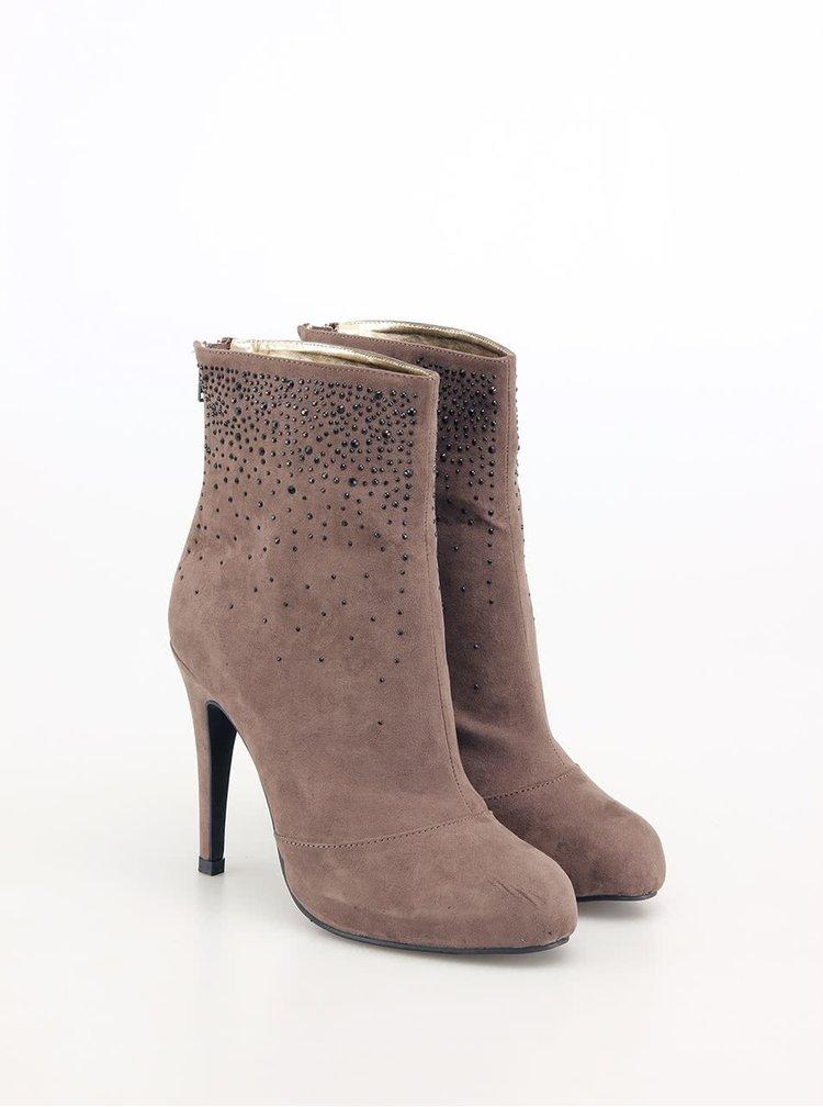 Béžové členkové topánky s kamienkami Victoria Delef