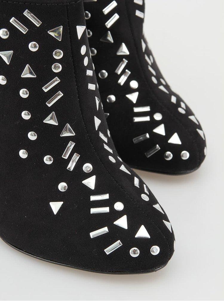 Černé kotníčkové boty s kamínky Timeless Perry