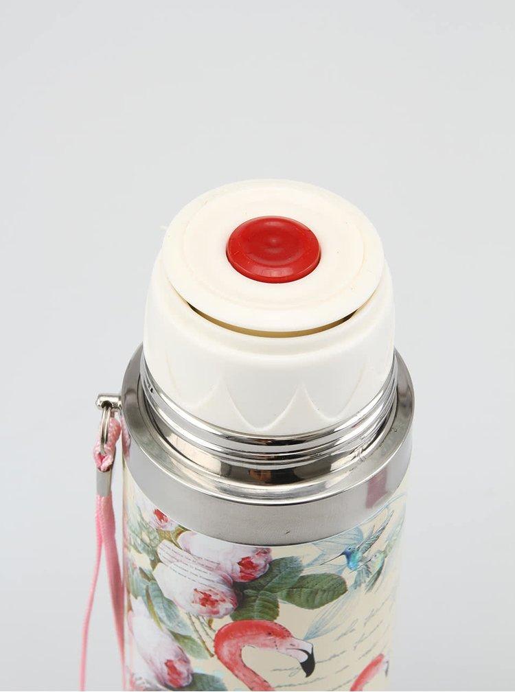 Ružová termoska s plameniakmi Disaster Aviary