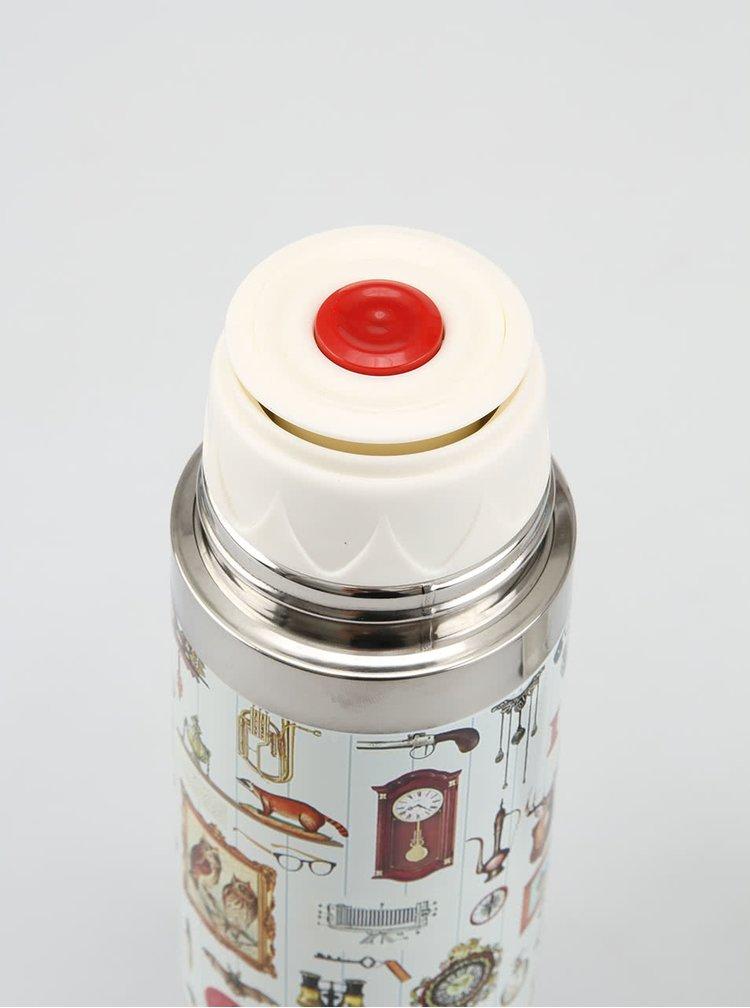 Biela termoska Disaster Granny´s Attic s obrázkami