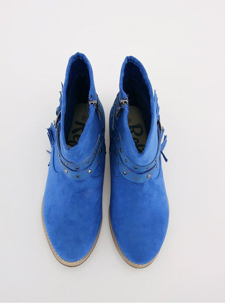 Modré nízké kozačky s přezkou Refresh