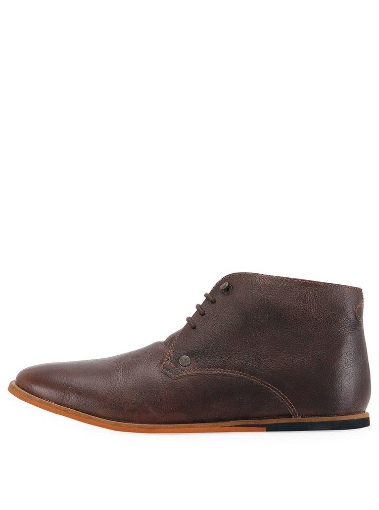 Tmavohnedé kožené členkové topánky Frank Wright Smith