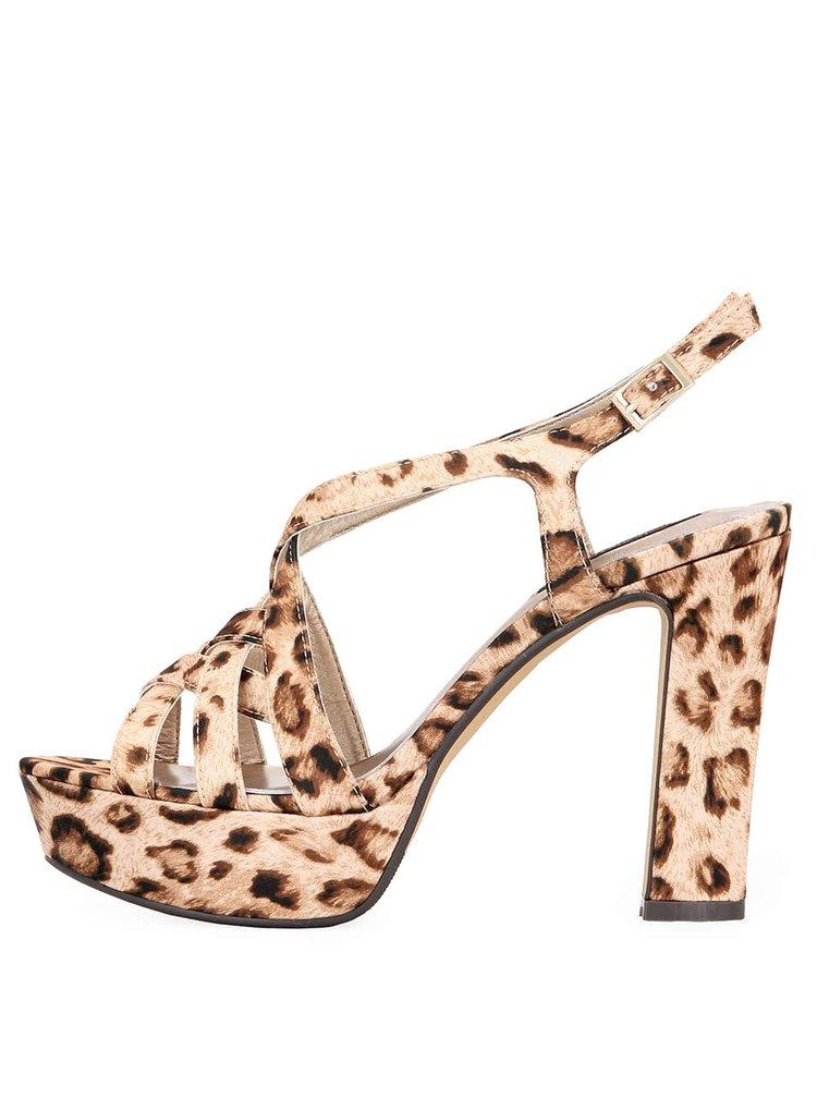 Topánky na podpätku Victoria Delef s leoparďou potlačou