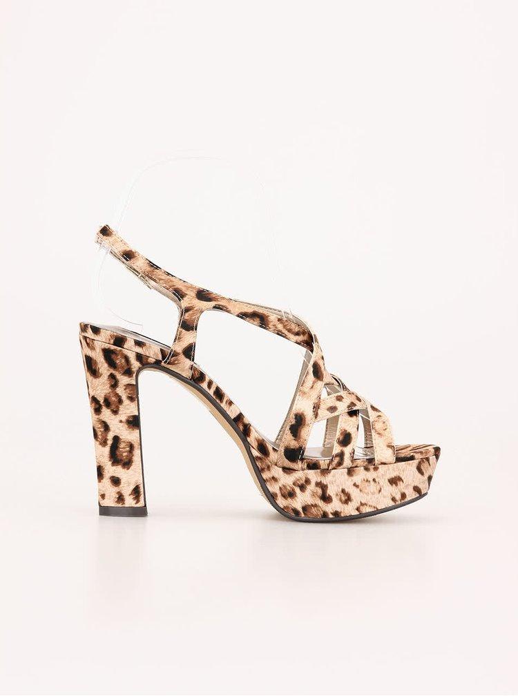 Sandale cu toc și imprimeu leopard de la Victoria Delef