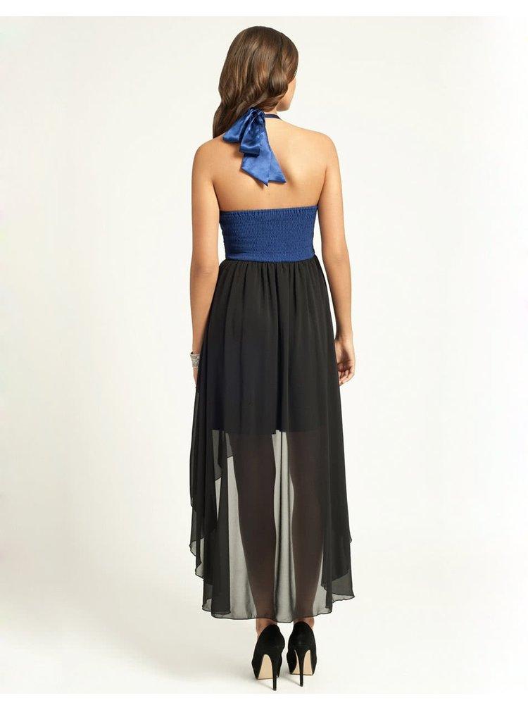 Černo-modré večerní šaty Little Mistress s asymetrickou sukní