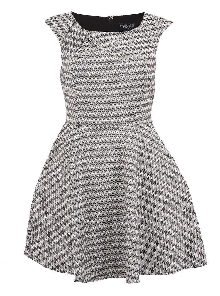 Černo-bílé vzorované šaty Fever London Noveau Fit