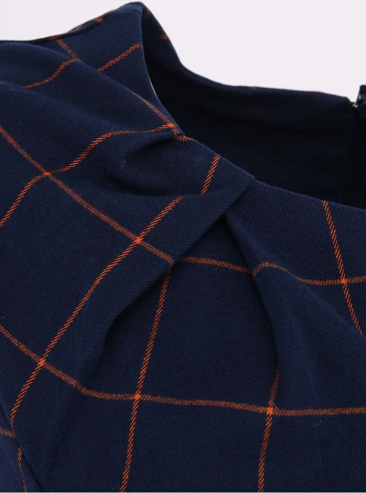 Tmavě modré kostkované šaty s páskem Fever London Kasparov