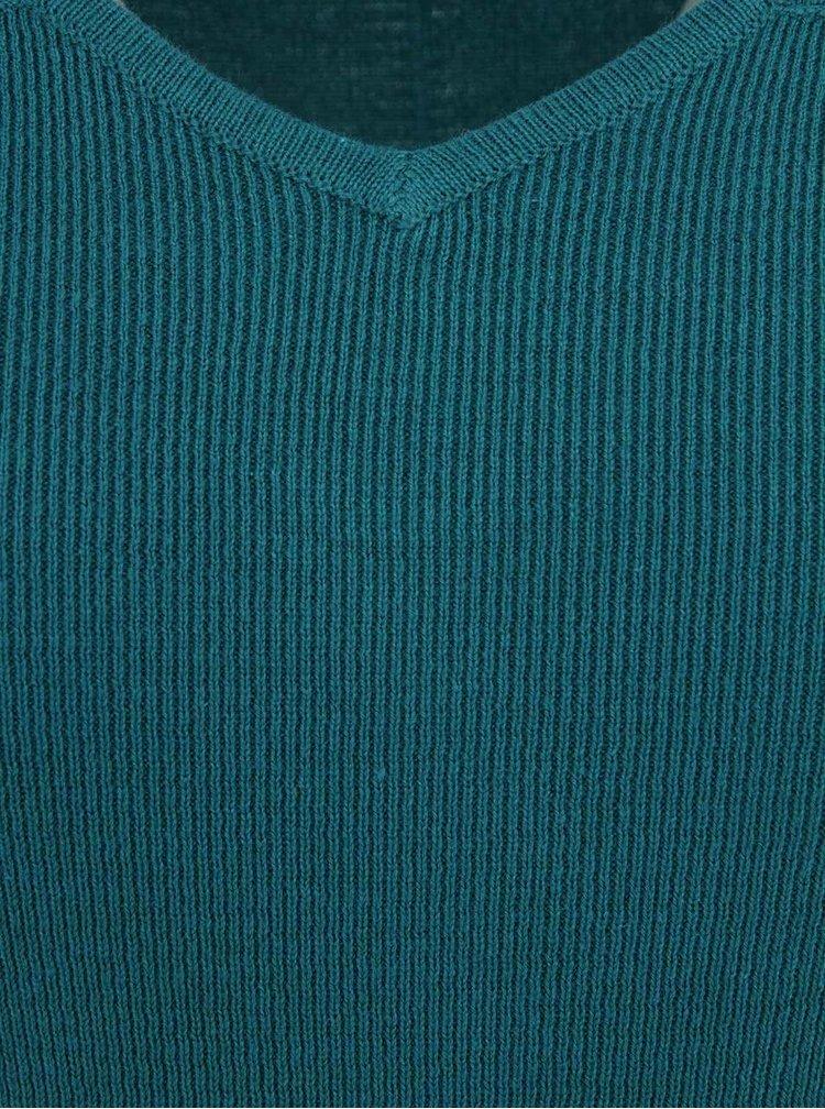Rochie tricotată cu mâneco scurte turcoaz FEVER LONDON Genoa